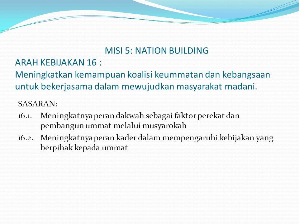 MISI 5: NATION BUILDING ARAH KEBIJAKAN 16 : Meningkatkan kemampuan koalisi keummatan dan kebangsaan untuk bekerjasama dalam mewujudkan masyarakat madani.