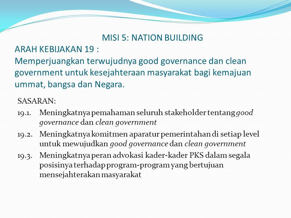 MISI 5: NATION BUILDING ARAH KEBIJAKAN 19 : Memperjuangkan terwujudnya good governance dan clean government untuk kesejahteraan masyarakat bagi kemajuan ummat, bangsa dan Negara.