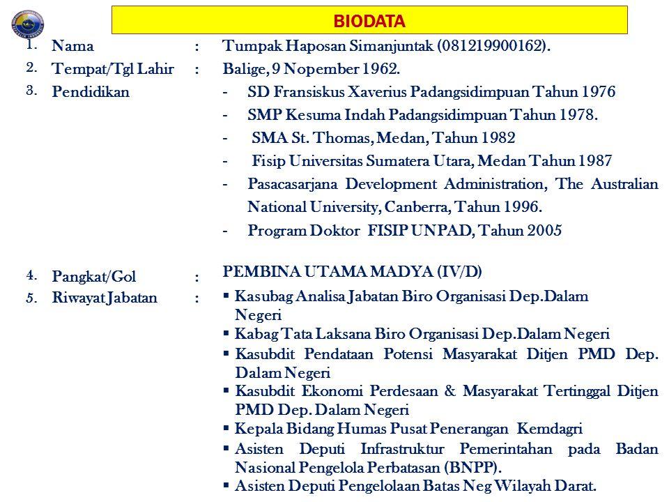 BIODATA Nama : Tumpak Haposan Simanjuntak (081219900162).