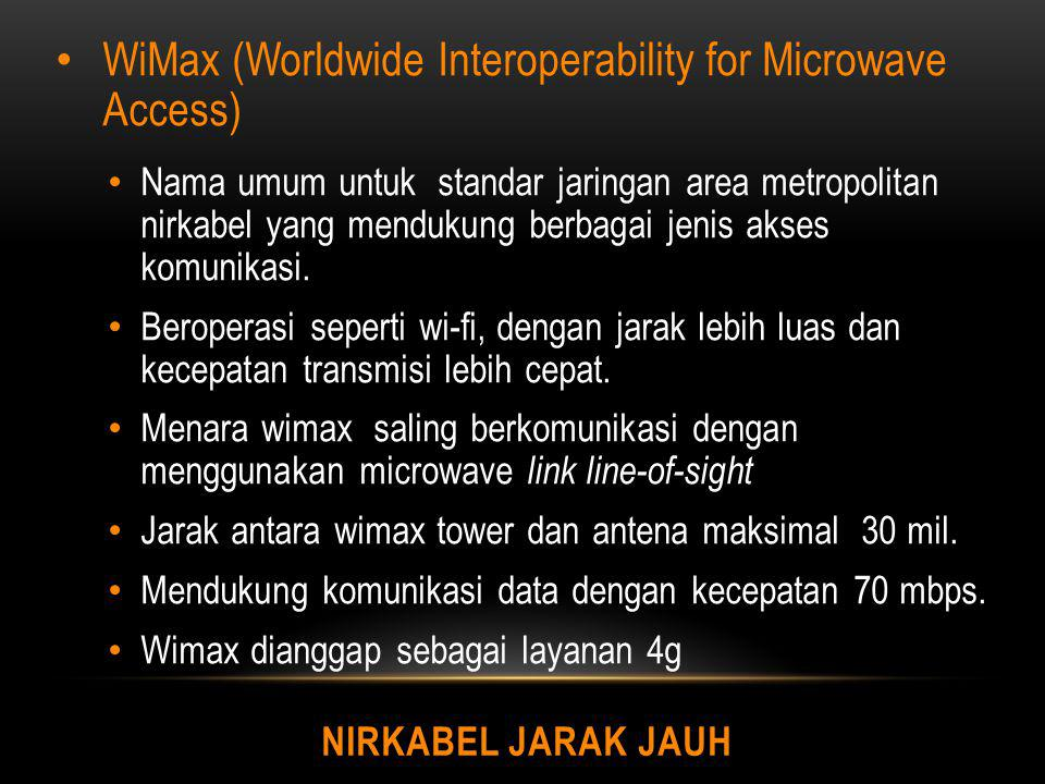WiMax (Worldwide Interoperability for Microwave Access)