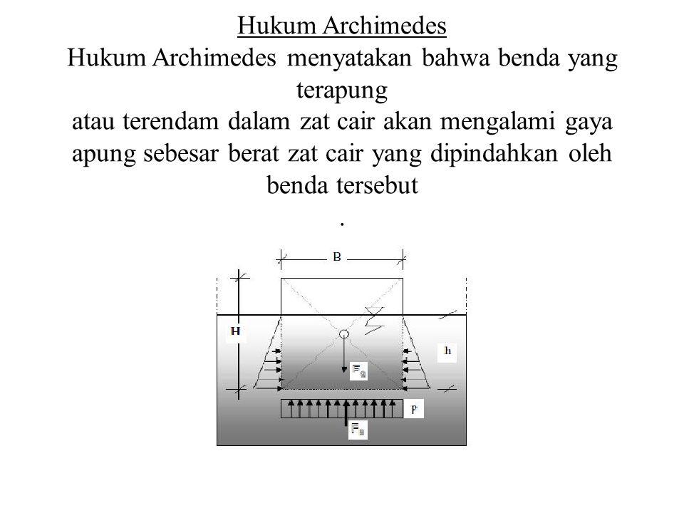 Hukum Archimedes Hukum Archimedes menyatakan bahwa benda yang terapung atau terendam dalam zat cair akan mengalami gaya apung sebesar berat zat cair yang dipindahkan oleh benda tersebut .