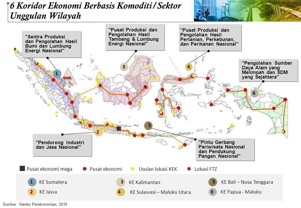 6 Koridor Ekonomi Berbasis Komoditi/Sektor Unggulan Wilayah
