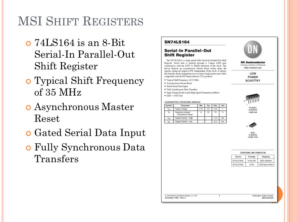 MSI Shift Registers 74LS164 is an 8-Bit Serial-In Parallel-Out Shift Register. Typical Shift Frequency of 35 MHz.