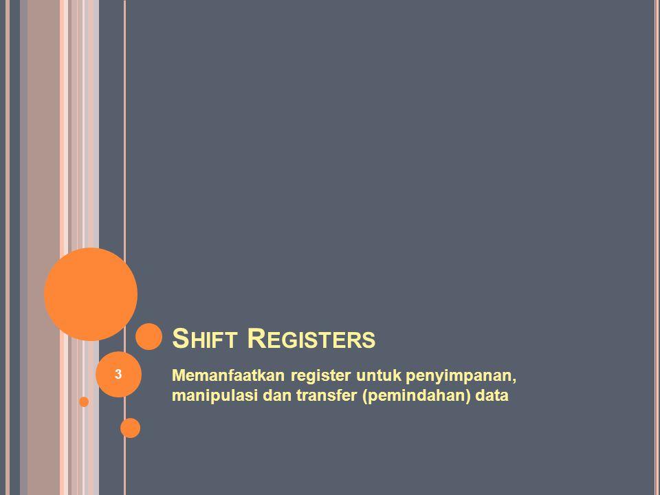 Shift Registers Memanfaatkan register untuk penyimpanan, manipulasi dan transfer (pemindahan) data