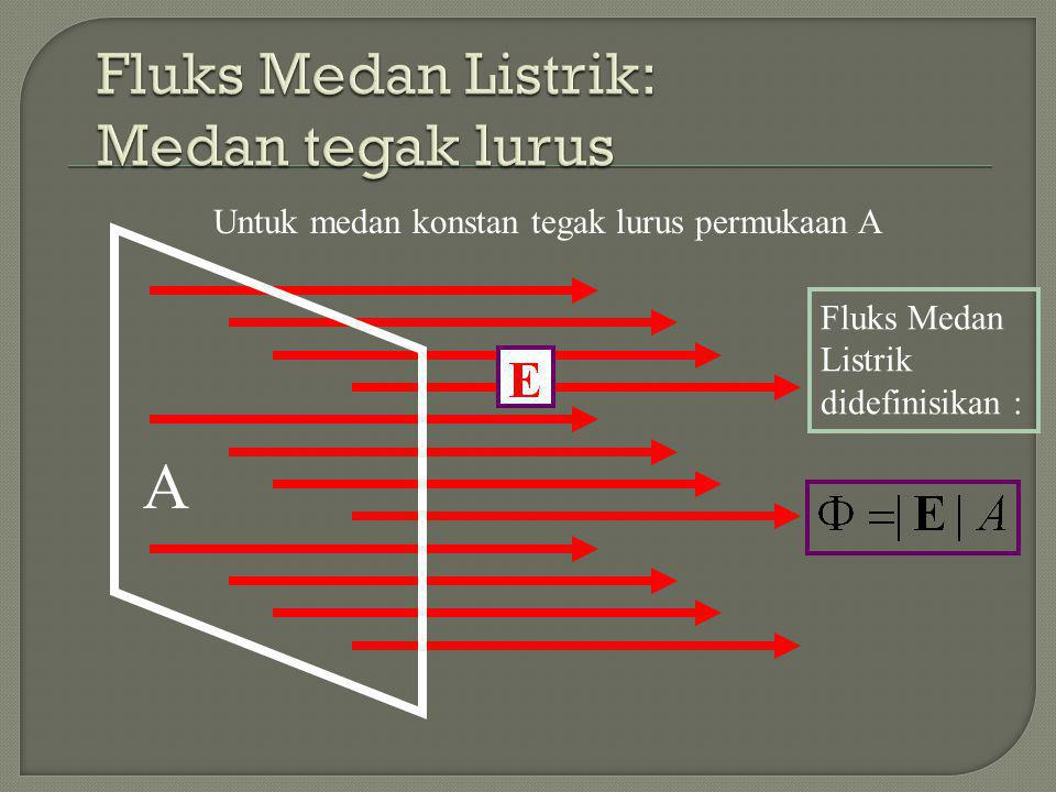 Fluks Medan Listrik: Medan tegak lurus