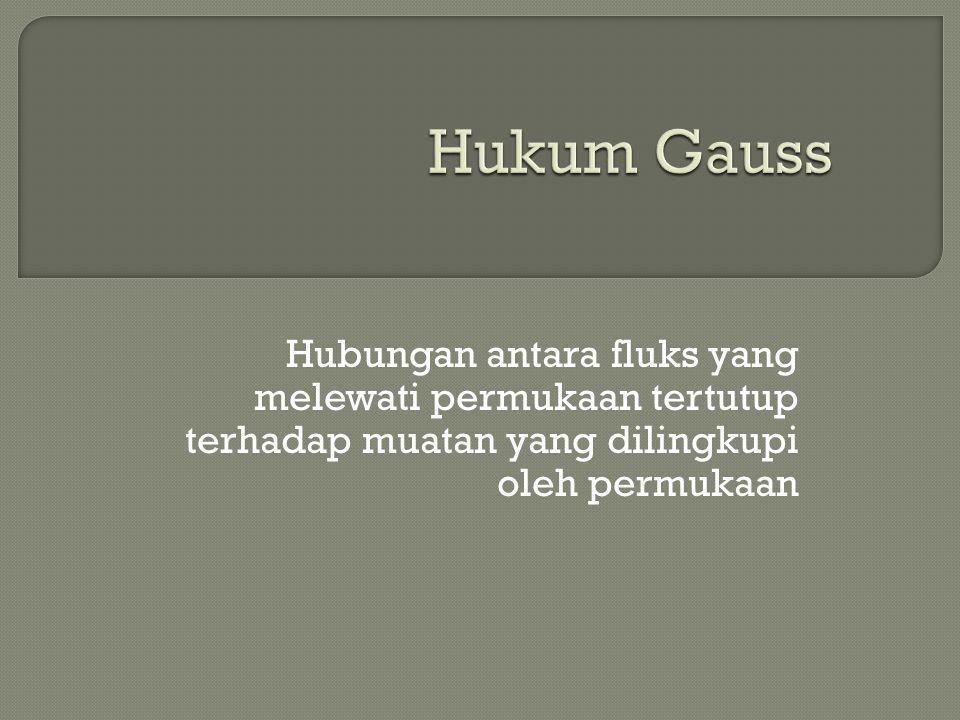 Hukum Gauss Hubungan antara fluks yang melewati permukaan tertutup terhadap muatan yang dilingkupi oleh permukaan.