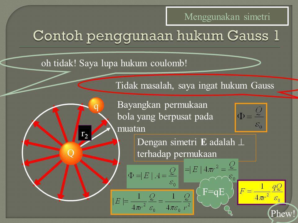 Contoh penggunaan hukum Gauss 1