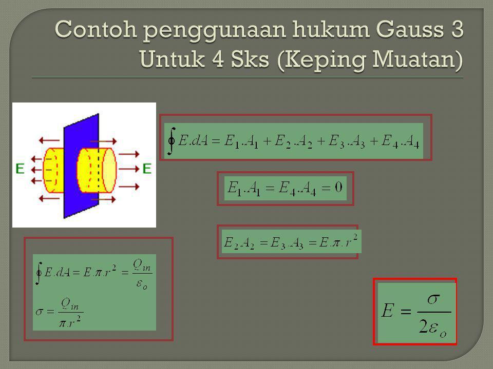 Contoh penggunaan hukum Gauss 3 Untuk 4 Sks (Keping Muatan)