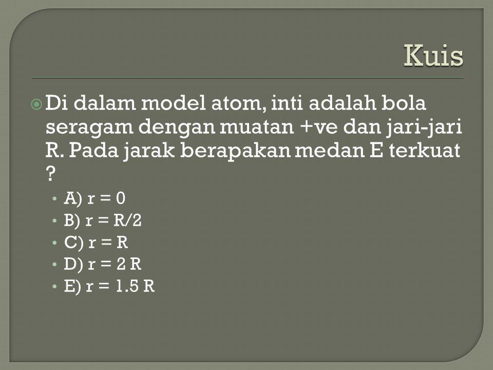 Kuis Di dalam model atom, inti adalah bola seragam dengan muatan +ve dan jari-jari R. Pada jarak berapakan medan E terkuat