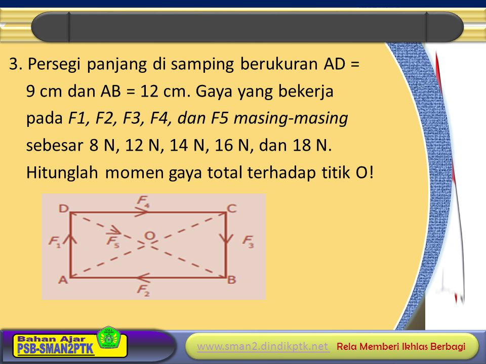 3. Persegi panjang di samping berukuran AD = 9 cm dan AB = 12 cm