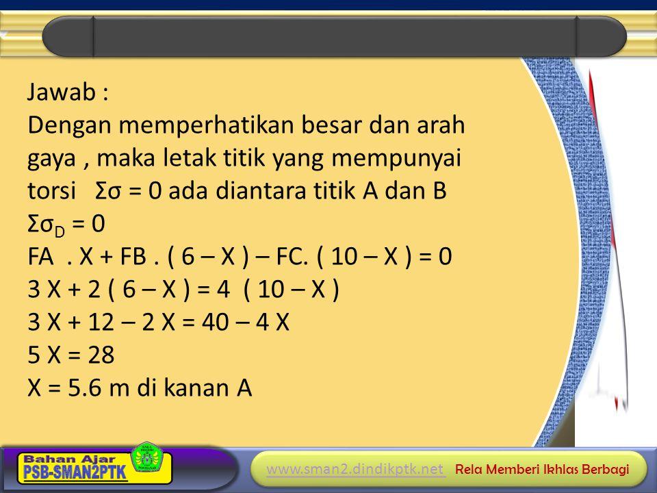 Jawab : Dengan memperhatikan besar dan arah gaya , maka letak titik yang mempunyai torsi Σσ = 0 ada diantara titik A dan B ΣσD = 0 FA .