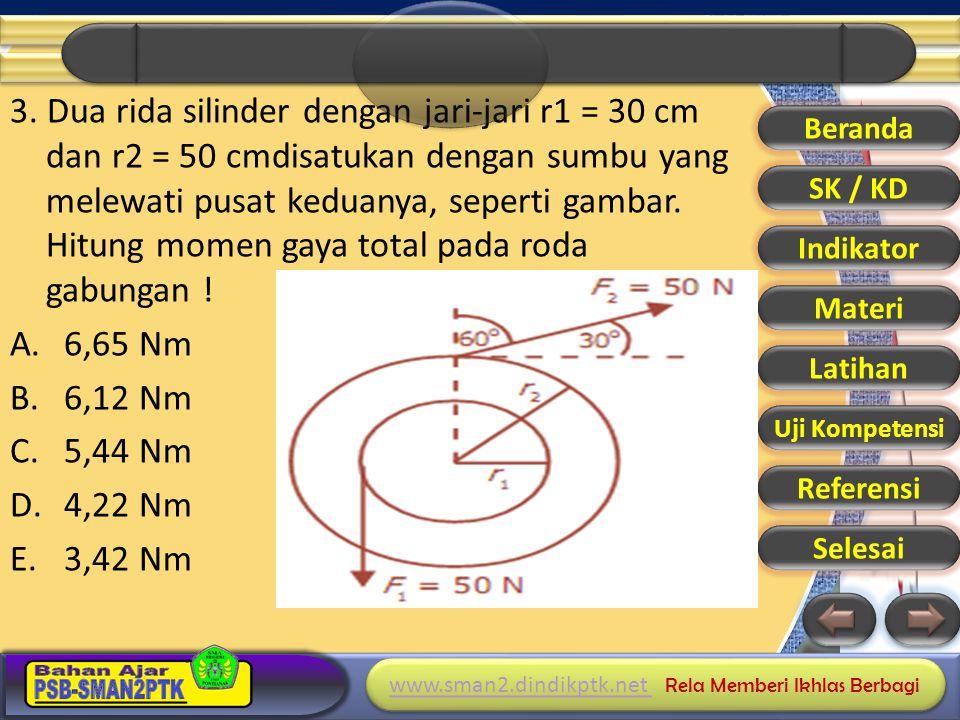 3. Dua rida silinder dengan jari-jari r1 = 30 cm dan r2 = 50 cmdisatukan dengan sumbu yang melewati pusat keduanya, seperti gambar. Hitung momen gaya total pada roda gabungan !