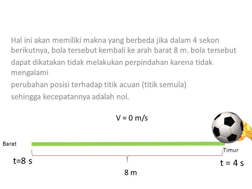 Hal ini akan memiliki makna yang berbeda jika dalam 4 sekon berikutnya, bola tersebut kembali ke arah barat 8 m. bola tersebut