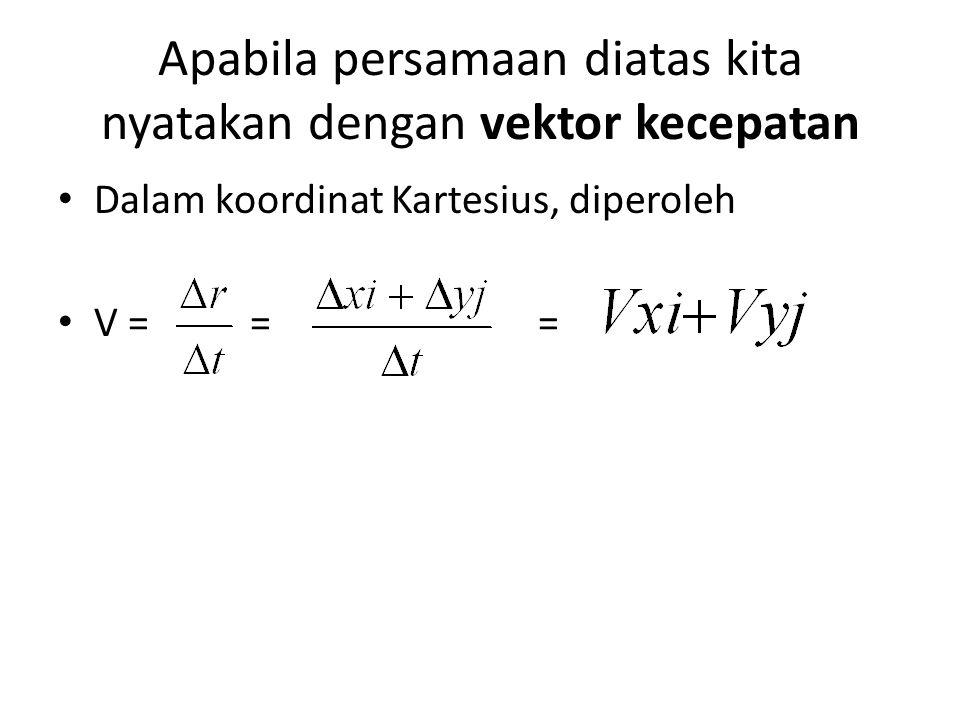 Apabila persamaan diatas kita nyatakan dengan vektor kecepatan