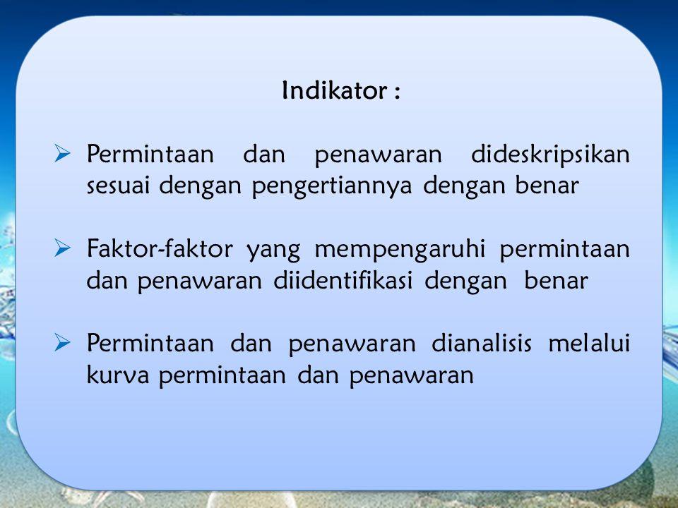 Indikator : Permintaan dan penawaran dideskripsikan sesuai dengan pengertiannya dengan benar.