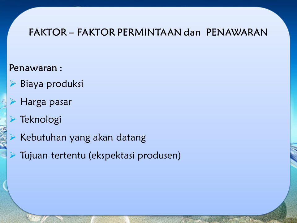 FAKTOR – FAKTOR PERMINTAAN dan PENAWARAN