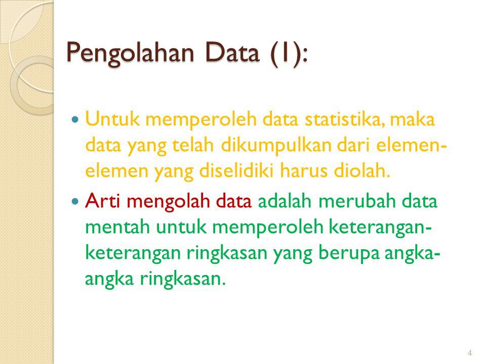 Pengolahan Data (1): Untuk memperoleh data statistika, maka data yang telah dikumpulkan dari elemen- elemen yang diselidiki harus diolah.