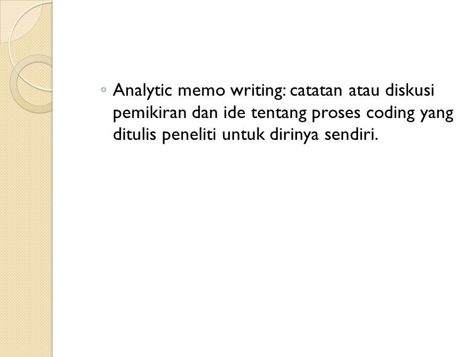 Analytic memo writing: catatan atau diskusi pemikiran dan ide tentang proses coding yang ditulis peneliti untuk dirinya sendiri.