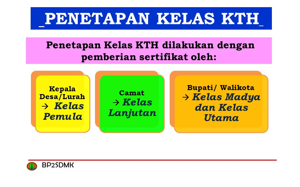 Penetapan Kelas KTH dilakukan dengan pemberian sertifikat oleh: