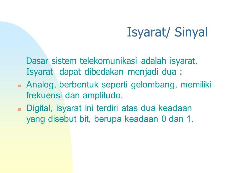 Isyarat/ Sinyal Dasar sistem telekomunikasi adalah isyarat. Isyarat dapat dibedakan menjadi dua :