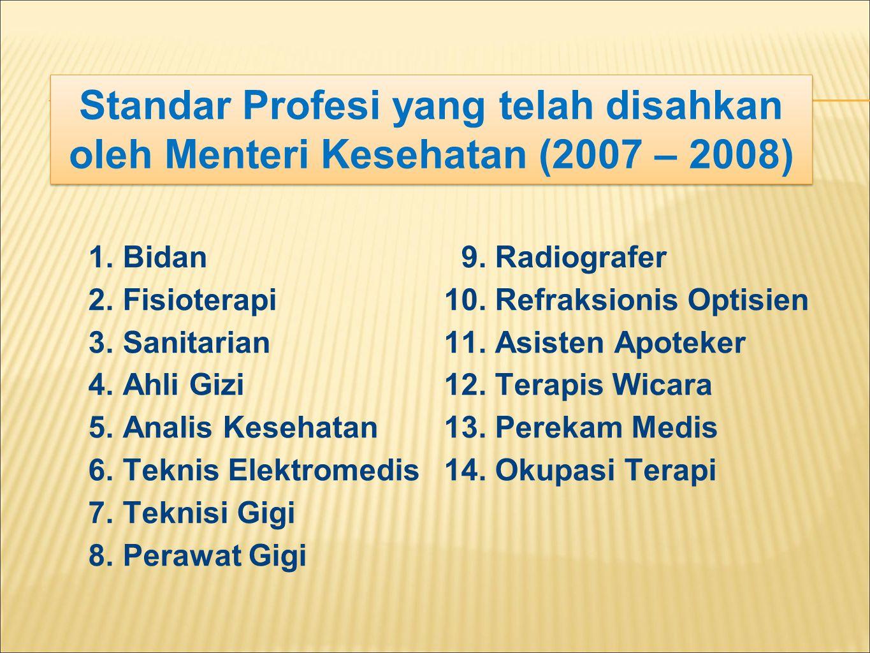 Standar Profesi yang telah disahkan oleh Menteri Kesehatan (2007 – 2008)