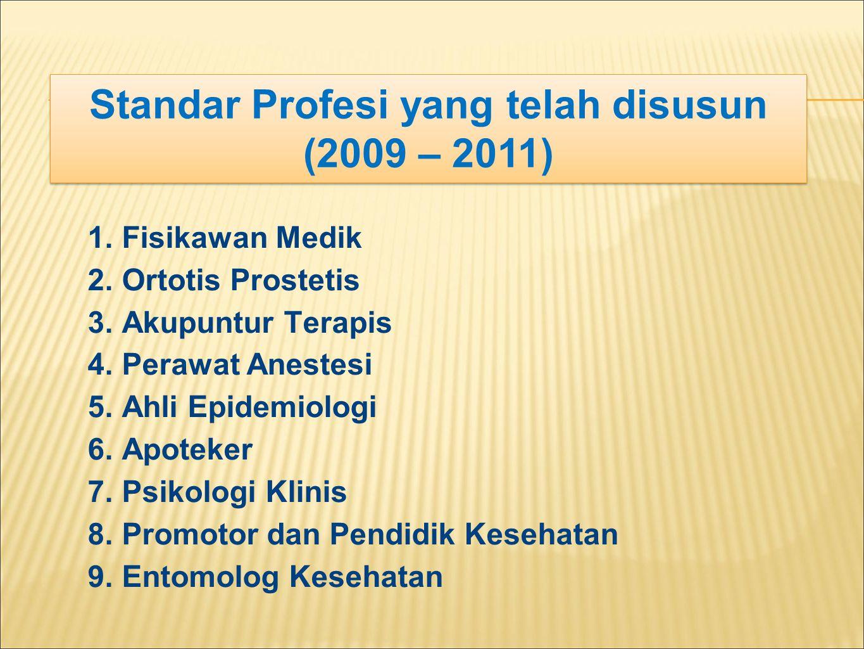 Standar Profesi yang telah disusun (2009 – 2011)