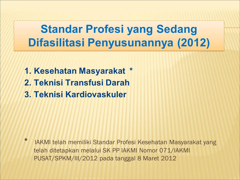 Standar Profesi yang Sedang Difasilitasi Penyusunannya (2012)