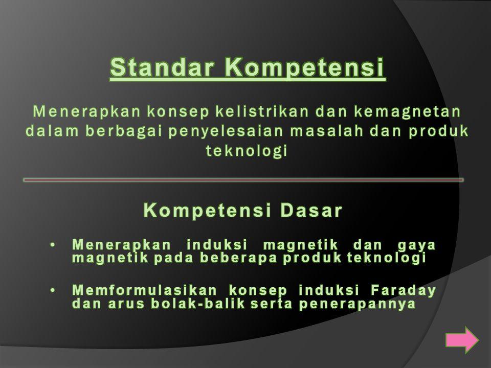 Standar Kompetensi Menerapkan konsep kelistrikan dan kemagnetan dalam berbagai penyelesaian masalah dan produk teknologi