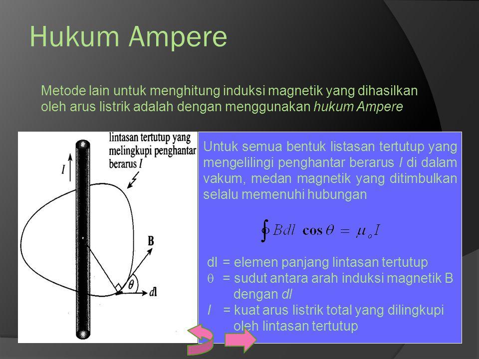 Hukum Ampere Metode lain untuk menghitung induksi magnetik yang dihasilkan oleh arus listrik adalah dengan menggunakan hukum Ampere.