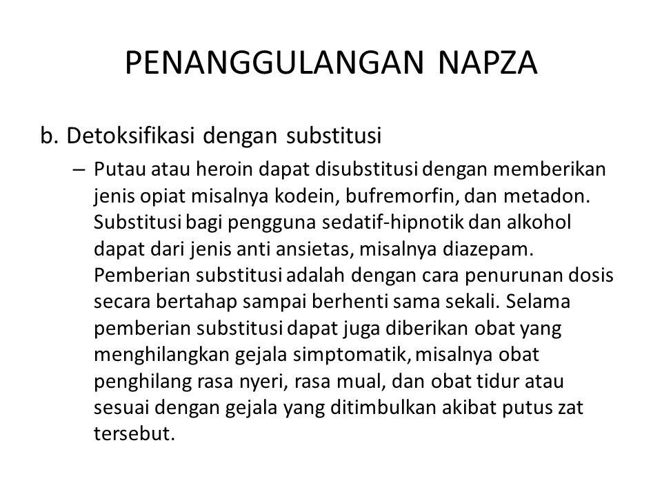PENANGGULANGAN NAPZA b. Detoksifikasi dengan substitusi
