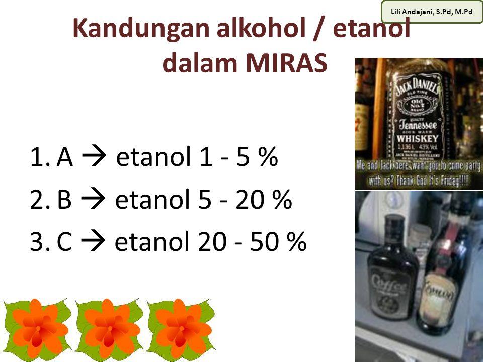 Kandungan alkohol / etanol dalam MIRAS