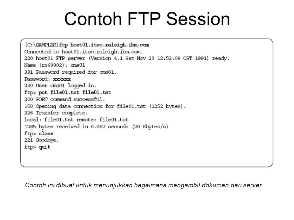 Contoh FTP Session Contoh ini dibuat untuk menunjukkan bagaimana mengambil dokumen dari server