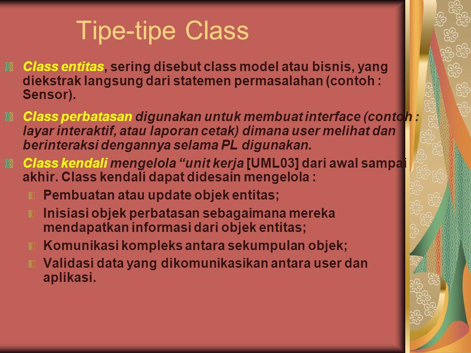 Tipe-tipe Class Class entitas, sering disebut class model atau bisnis, yang diekstrak langsung dari statemen permasalahan (contoh : Sensor).