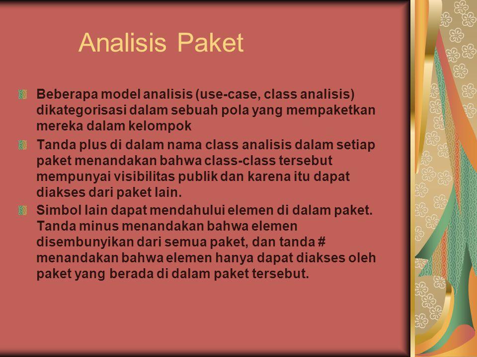 Analisis Paket Beberapa model analisis (use-case, class analisis) dikategorisasi dalam sebuah pola yang mempaketkan mereka dalam kelompok.