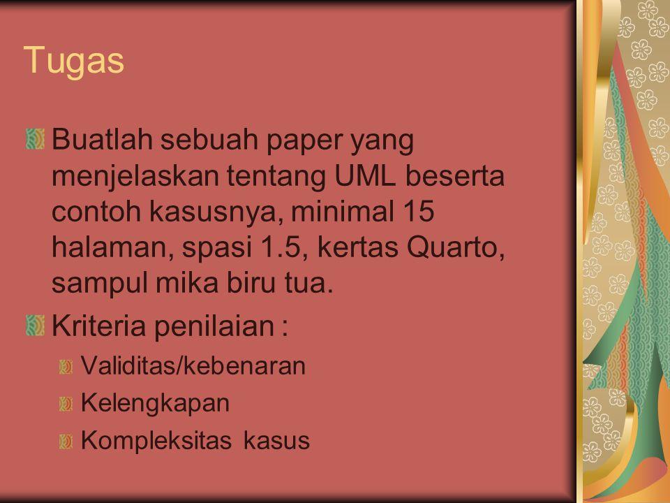 Tugas Buatlah sebuah paper yang menjelaskan tentang UML beserta contoh kasusnya, minimal 15 halaman, spasi 1.5, kertas Quarto, sampul mika biru tua.