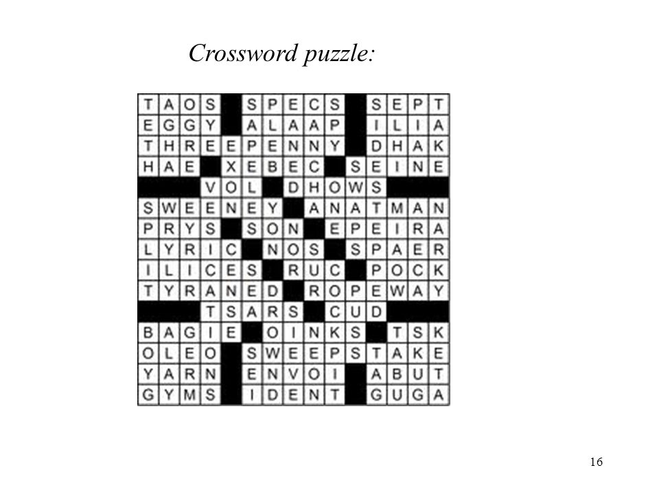 Crossword puzzle: