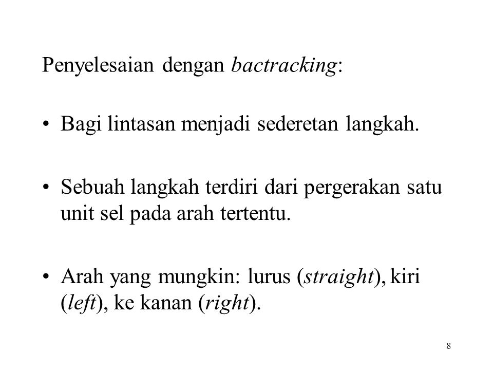 Penyelesaian dengan bactracking: