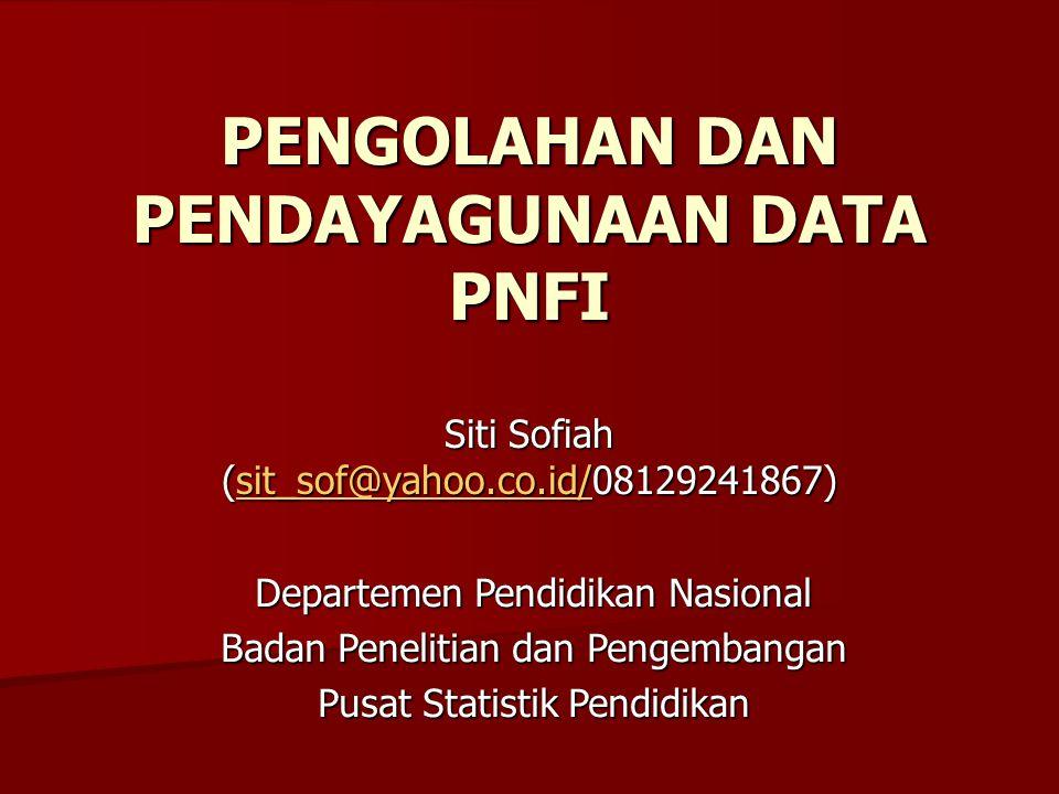 PENGOLAHAN DAN PENDAYAGUNAAN DATA PNFI