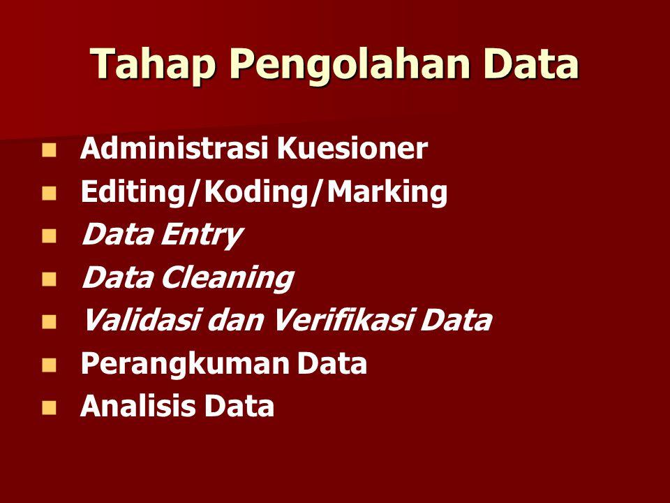 Tahap Pengolahan Data Administrasi Kuesioner Editing/Koding/Marking