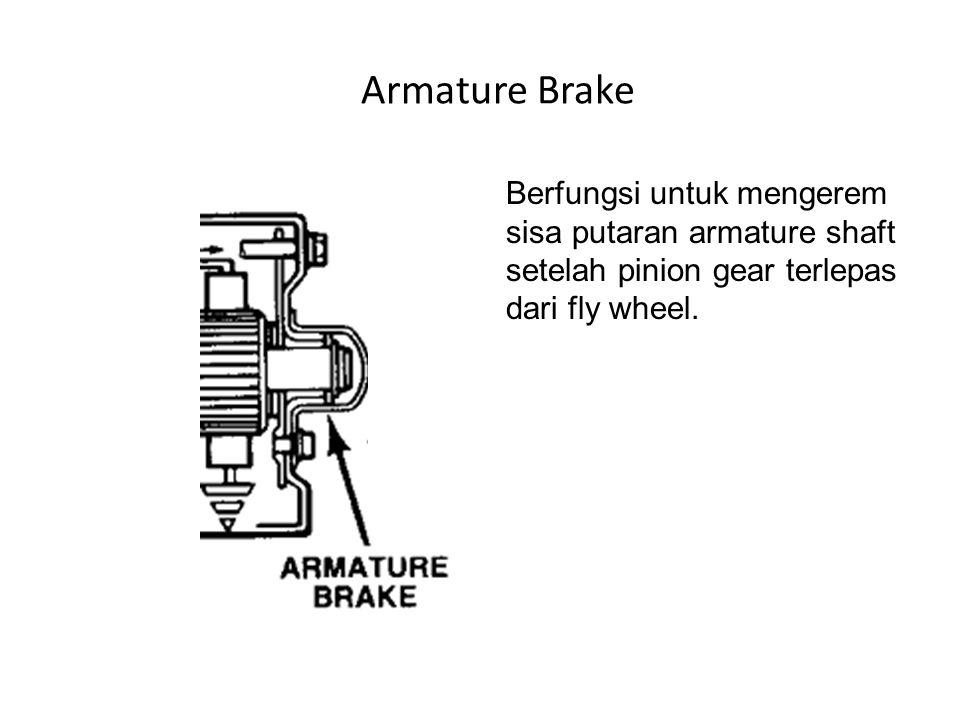 Armature Brake Berfungsi untuk mengerem sisa putaran armature shaft setelah pinion gear terlepas dari fly wheel.