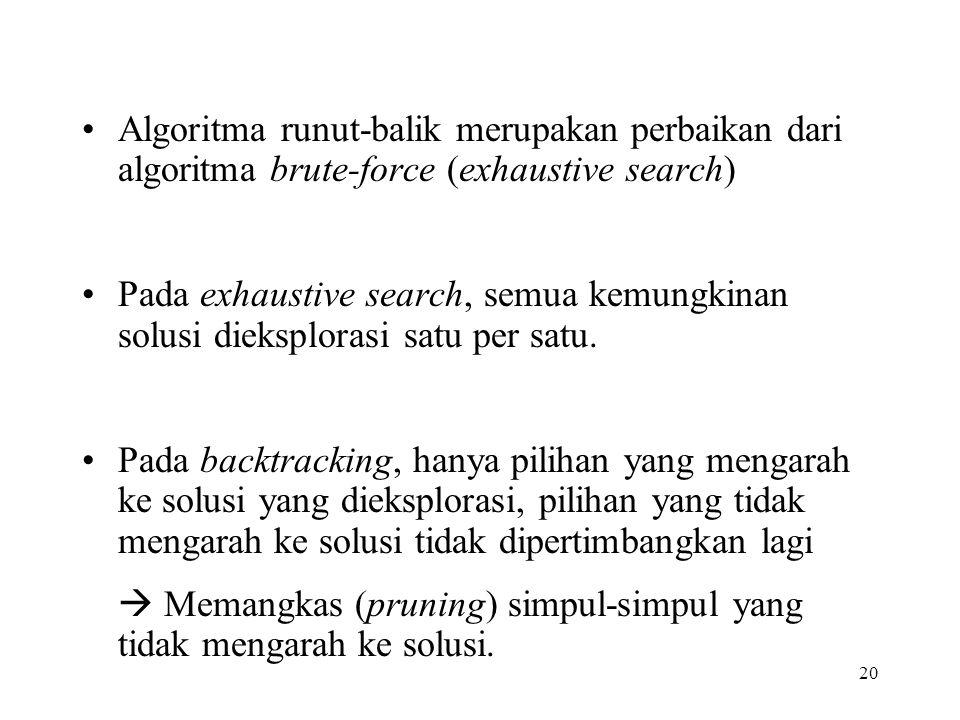 Algoritma runut-balik merupakan perbaikan dari algoritma brute-force (exhaustive search)