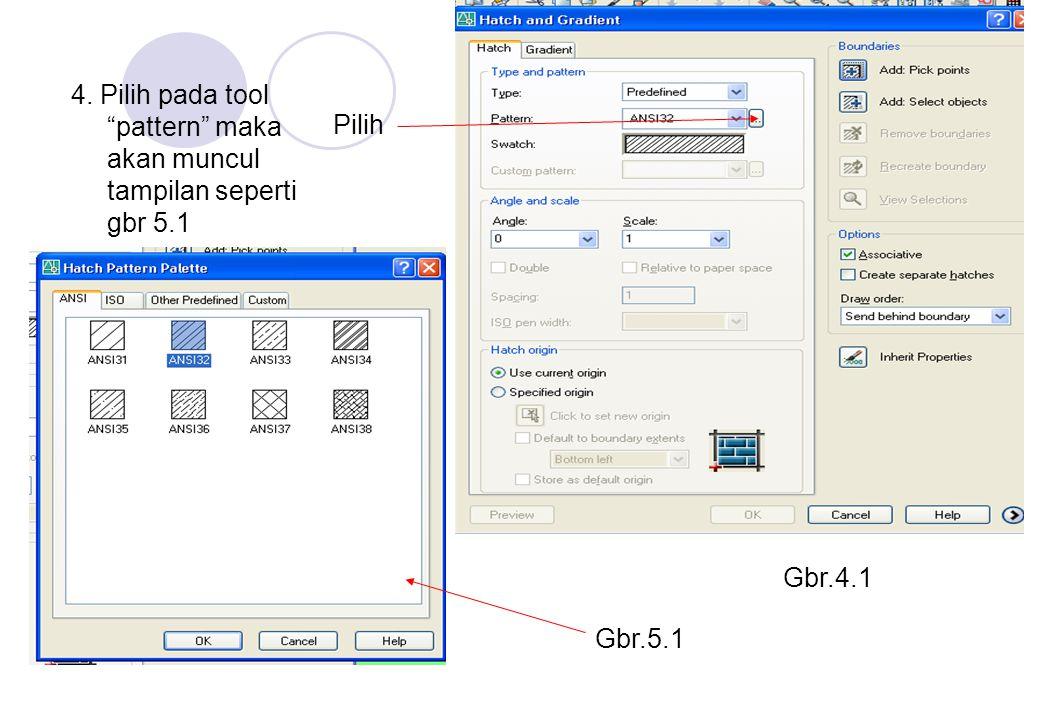 4. Pilih pada tool pattern maka akan muncul tampilan seperti gbr 5.1