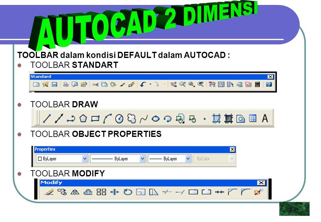 AUTOCAD 2 DIMENSI TOOLBAR dalam kondisi DEFAULT dalam AUTOCAD :
