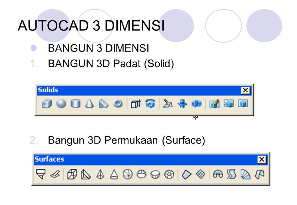 AUTOCAD 3 DIMENSI BANGUN 3 DIMENSI BANGUN 3D Padat (Solid)