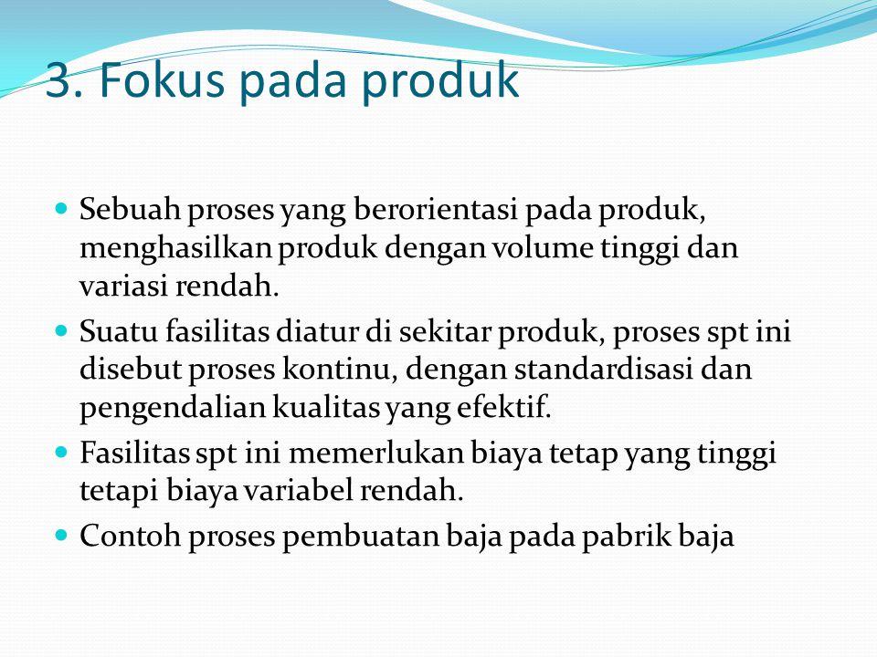 3. Fokus pada produk Sebuah proses yang berorientasi pada produk, menghasilkan produk dengan volume tinggi dan variasi rendah.