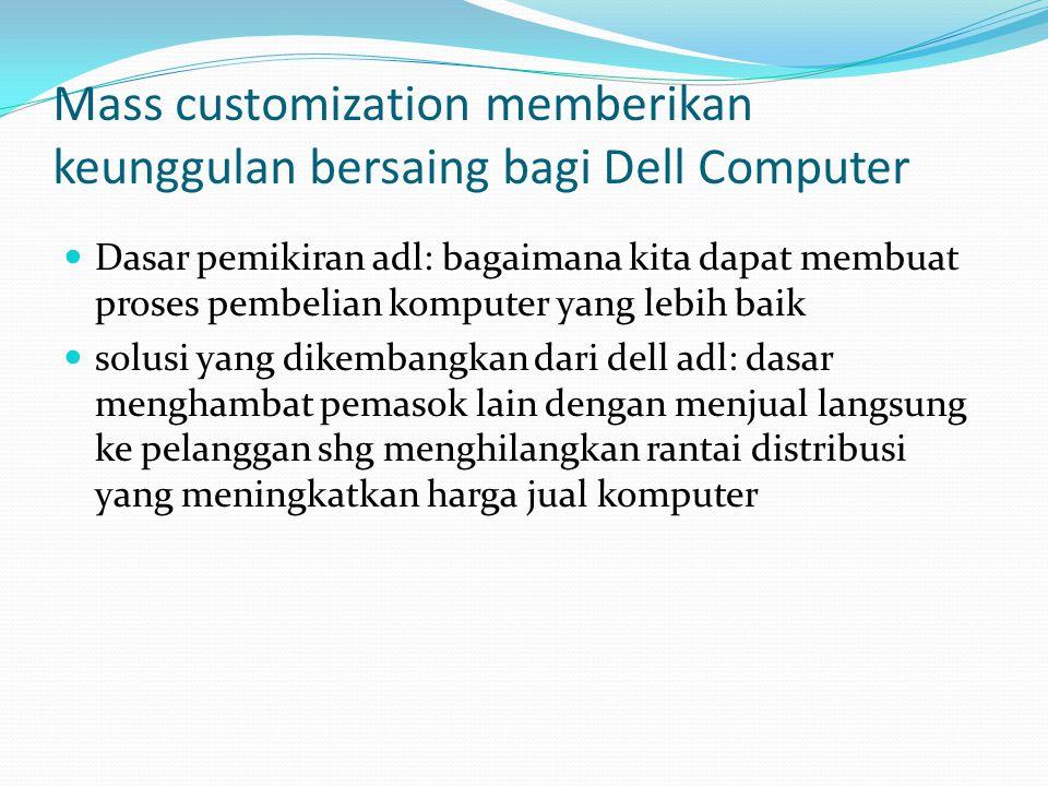 Mass customization memberikan keunggulan bersaing bagi Dell Computer