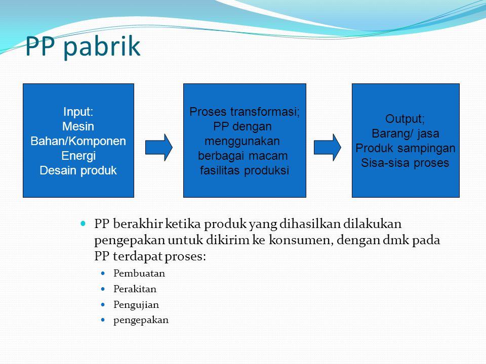 PP pabrik PP berakhir ketika produk yang dihasilkan dilakukan pengepakan untuk dikirim ke konsumen, dengan dmk pada PP terdapat proses: