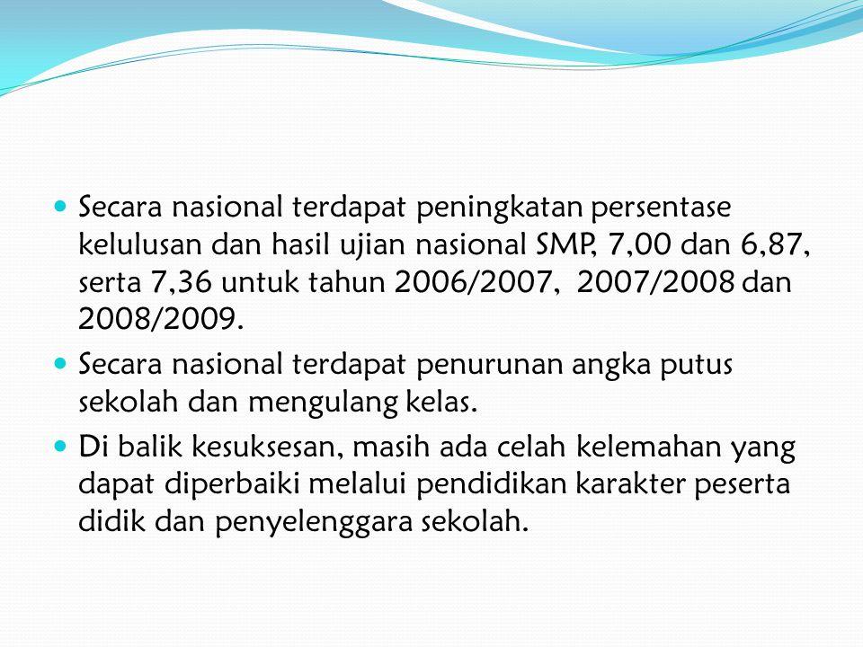 Secara nasional terdapat peningkatan persentase kelulusan dan hasil ujian nasional SMP, 7,00 dan 6,87, serta 7,36 untuk tahun 2006/2007, 2007/2008 dan 2008/2009.