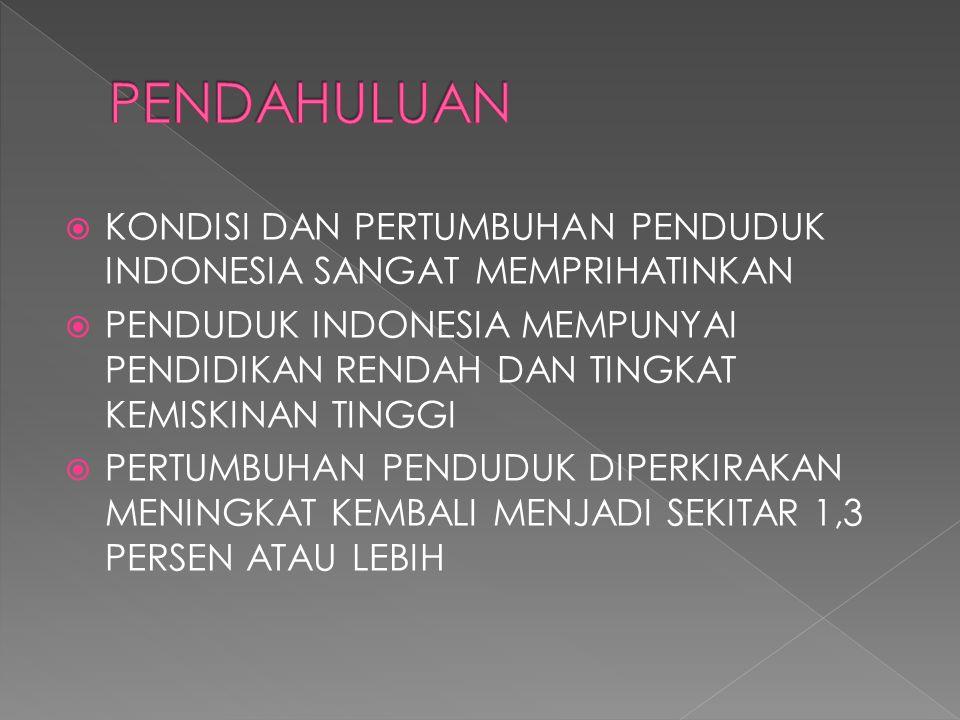 PENDAHULUAN KONDISI DAN PERTUMBUHAN PENDUDUK INDONESIA SANGAT MEMPRIHATINKAN.