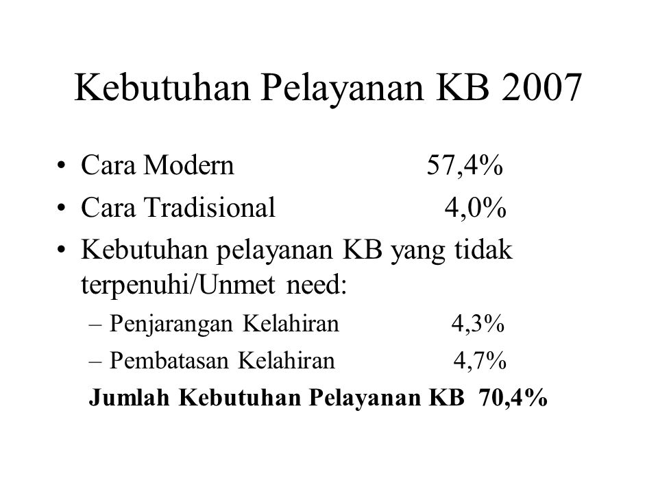 Kebutuhan Pelayanan KB 2007